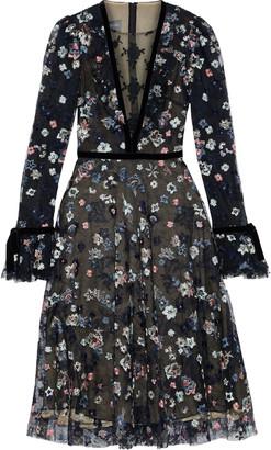 Monique Lhuillier Velvet-trimmed Embroidered Tulle Midi Dress