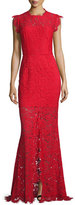 Rachel Zoe Sleeveless Floral Lace Column Gown, Rogue