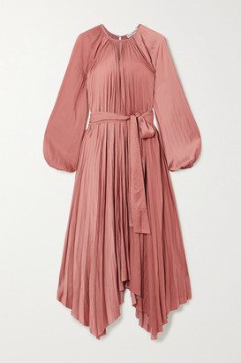 Ulla Johnson Yalena Belted Pleated Satin Midi Dress - Copper