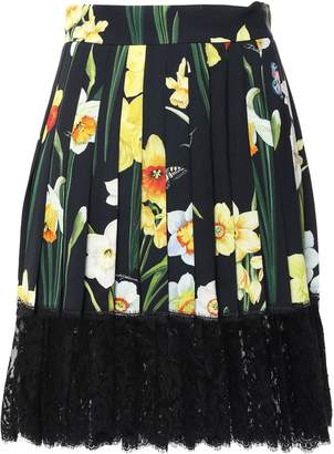 Dolce & Gabbana Lace-trimmed Pleated Printed Crepe Mini Skirt