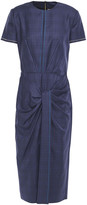 Thumbnail for your product : Roland Mouret Dalva Gathered Prince Of Wales Checked Wool And Silk-blend Midi Dress
