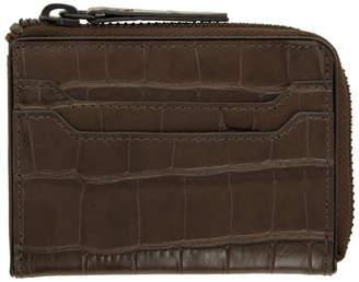 Dries Van Noten Brown Croc Zip Wallet