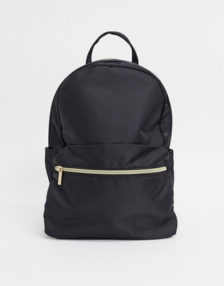 ASOS DESIGN simple backpack with front pocket in black