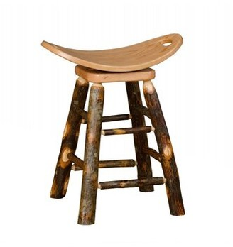 """Orrie Hickory Swivel Saddle Bar & Counter Stool Millwood Pines Seat Height: Counter Stool (24"""" Seat Height)"""