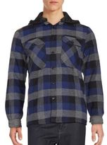 Saks Fifth Avenue RED Sherpa-Lined Hooded Plaid Shirt