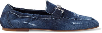 Tod's Double T Embellished Distressed Denim Loafers