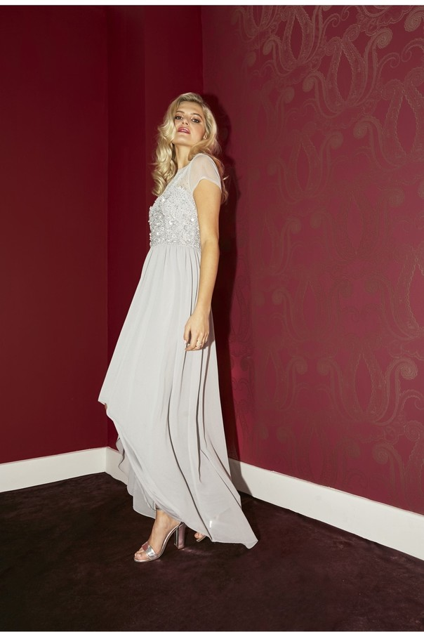 Thumbnail for your product : Little Mistress Bridesmaid Elise Grey Hand-Embellished Sequin Hi-Low Prom Dress