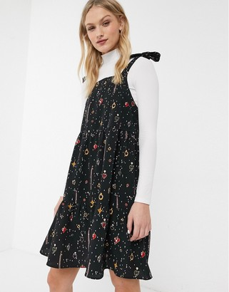 Monki Thelma printed jewels mini smock dress in black
