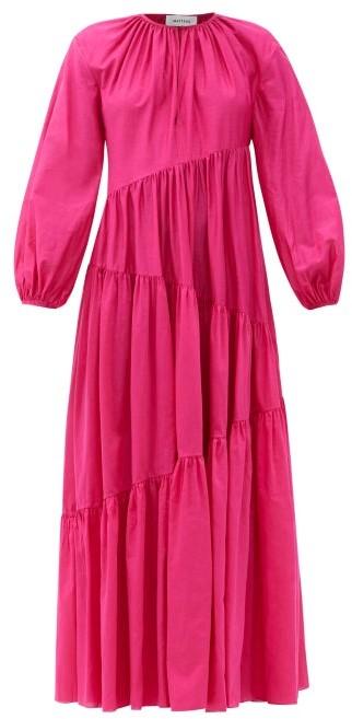Matteau Asymmetric Cotton-blend Maxi Dress - Fuchsia