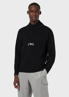 Emporio Armani Virgin-Wool, Mock-Neck Sweater With Logo Embroidery