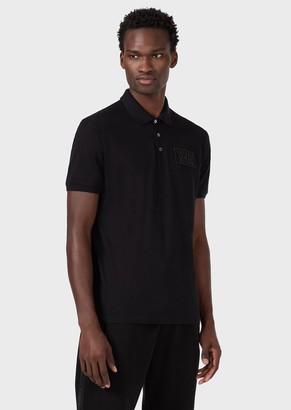 Emporio Armani Mercerised Pique Polo Shirt With Milano Patch