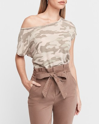 Express Off The Shoulder Camo London Tee