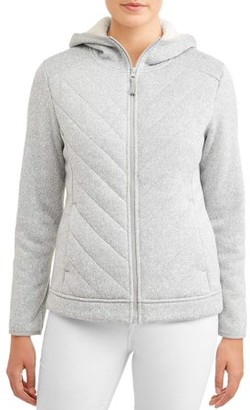 Time and Tru Women's Sweater Fleece Jacket with Sherpa