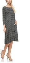 Dark Gray & Black Stripe Pocket Midi Dress