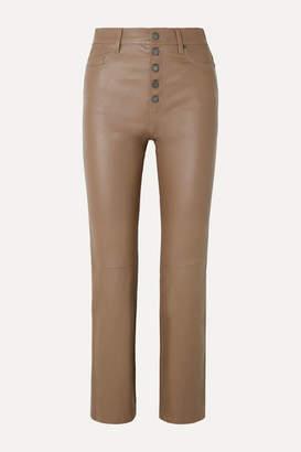 Joseph Den Cropped Leather Straight-leg Pants - Tan