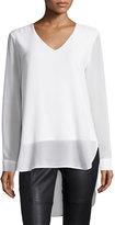 Neiman Marcus Long-Sleeve Chiffon High-Low Tunic, Ivory
