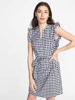 Old Navy Sleeveless Ruffle-Trim Shirt Dress for Women