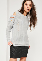 Missguided Grey Distressed Cold Shoulder Sweater