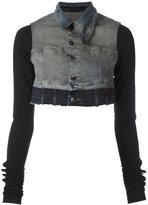 Rick Owens cropped denim jacket - women - Cotton/Polyethylene/Spandex/Elastane - M