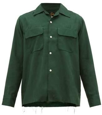 Needles Raw-hem Silk-jacquard Shirt - Mens - Green