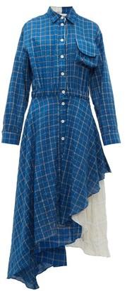 Natasha Zinko Layered Checked Dress - Womens - Blue Multi