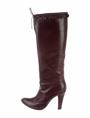 Marc Jacobs Leather Ruffle Embellishment Boots