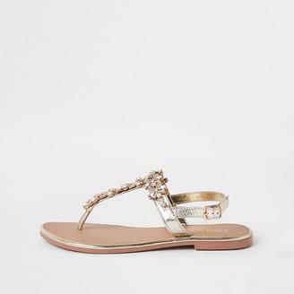 River Island Gold embellished leather sandal