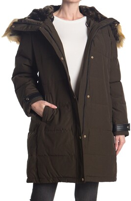 Nine West Faux Fur Trim Hooded Parka