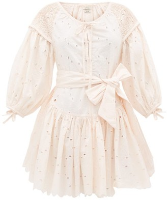 Innika Choo Meg Nettick Floral-embroidered Cotton Dress - Womens - Light Pink