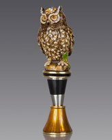 Jay Strongwater Owl Wine Stopper with Stand