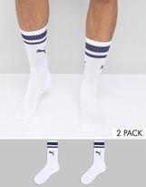 Puma 2 Pack Heritage Socks In White 261058001079