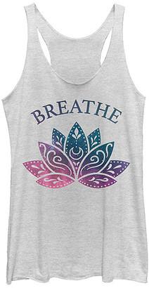 Fifth Sun Women's Tank Tops WHITE - Heather White 'Breathe' Lotus Tank - Women & Juniors