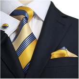 Landisun Stripes Mens Silk Necktie Set: Tie+Hanky+Cufflinks