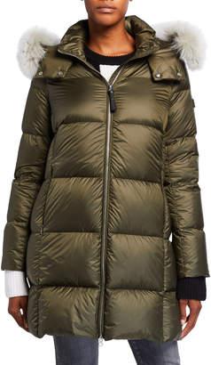 Derek Lam 10 Crosby Soft Down Detachable Fur-Trim Coat