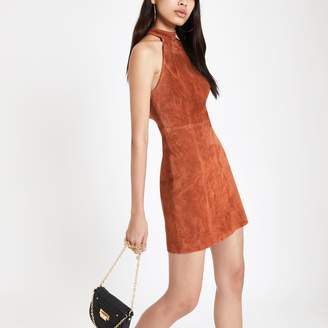 River Island Womens Rust suede halterneck dress