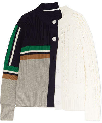 Sacai Paneled Cable-knit Cotton-blend Cardigan - White
