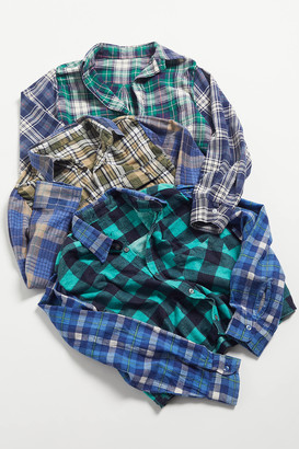 Urban Renewal Vintage Recycled Two-Tone Flannel Cropped Shirt
