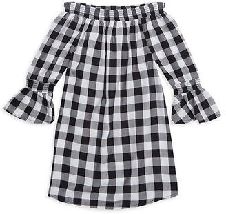 7 For All Mankind Girl's Gingham Off-The-Shoulder Dress