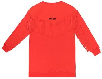 MSGM Kids Fringed cotton sweatshirt