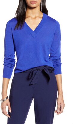 Halogen V-Neck Merino Wool Blend Sweater