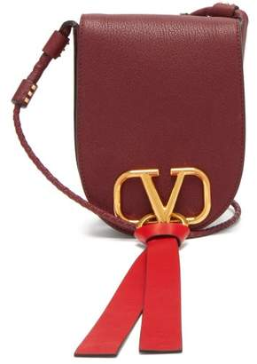 Valentino V Ring Small Leather Cross Body Bag - Womens - Burgundy
