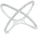 Zales 1/8 CT. T.W. Diamond Criss-Cross Orbit Ring in Sterling Silver