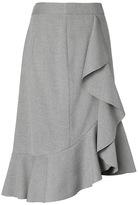 Banana Republic Luxe Brushed Twill Ruffle Pencil Skirt