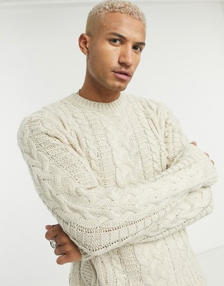 ASOS DESIGN heavyweight cable knit crew neck jumper in oatmeal