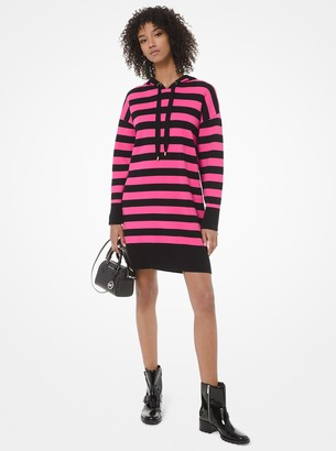 MICHAEL Michael Kors Striped Cotton-Blend Hoodie Dress