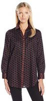 Foxcroft Women's Long Sleeve Wrinkle Free Dot Print Shirt