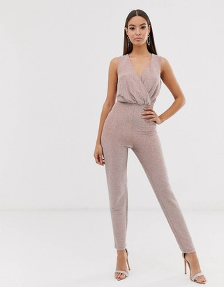 The Girlcode glitter lurex wrap front jumpsuit in mink