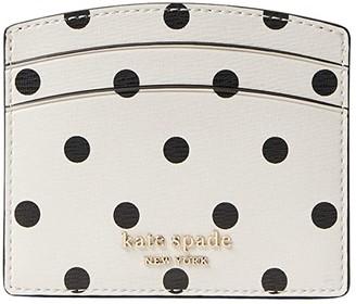 Kate Spade Spencer Cabana Dot Card Holder (Optic White/Multi) Handbags