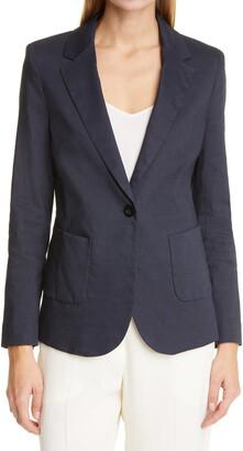 SEVENTY VENEZIA Seventy Front Button Linen Blend Jacket