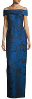 Rickie Freeman For Teri Jon Off-the-Shoulder Floral Jacquard Column Gown, Blue